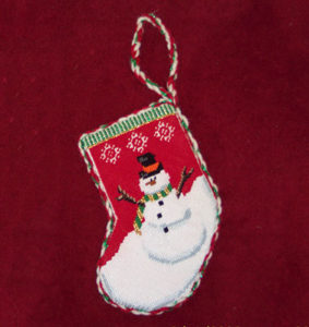 needlepoint Christmas snowman stocking decoration