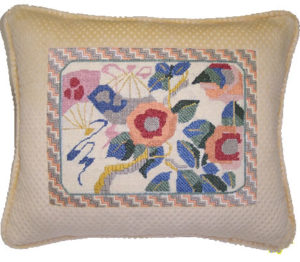 decorative floral needlepoint pillow