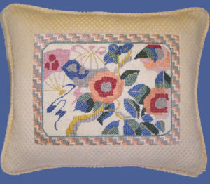 needlepoint artwork pillow
